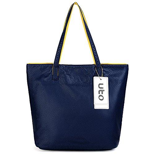 UTO Borsa Tote per Donna 3 pezzo Borsa Set Colore a contrasto Borsa a tracolla e Spalla e Portafoglio Marrone Navy Blu/Giallo