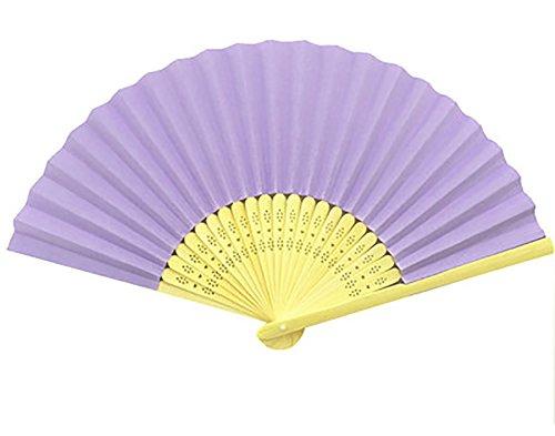 1X Toruiwa Holz Handfächer Fächer Faltbare Fan für DIY Hochzeit Geschenk Tanzabend Party Kostüm Maske Karnevals 21*1.4cm (Lila)