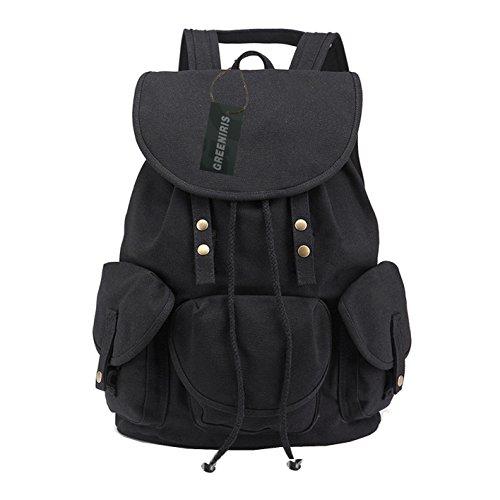 Rucksack Für Reisen Mädchen (Greeniris City Rucksack Damen/Herren Schwarz Schulrucksack Mädchen Schultasche Daypacks für Outdoor Sports)