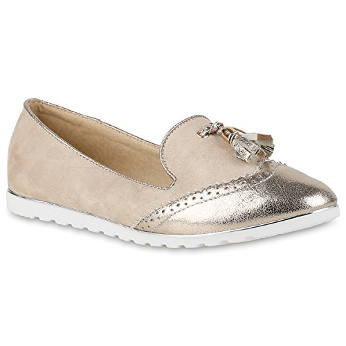 Damen Slipper Loafers Schleifen Glitzer Flats Profilsohle Schuhe Creme Quasten