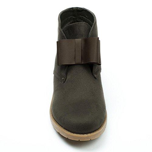 Ideal Shoes - Bottines desert avec nœud effet daim Dounia Taupe