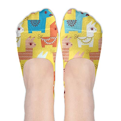 UFHRREEUR Alpaca Llama Cute Cartoon Stripe Thin No Show Socks Youth Novelty Hiking Low Cut ()