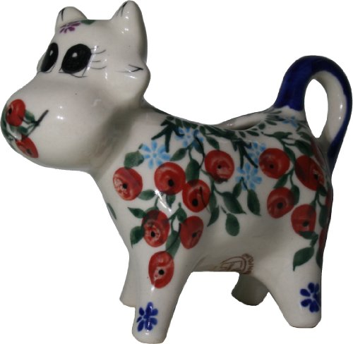 Polish Pottery Ceramika Boleslawiec 0501/282 Royal Blue Patterns 1/3-Cup Cow Creamer, Red Berries and Daisies Berry Creamer