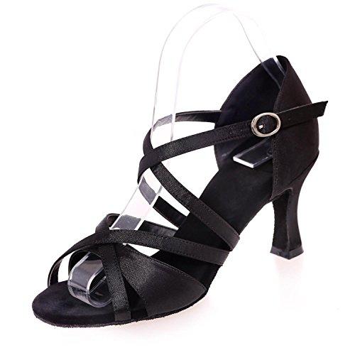 L@YC Sandali Di Seta Di Ballo Latino Da Donna Con Una Modalità Di Fibbia Interna / Multicolore Unico Black