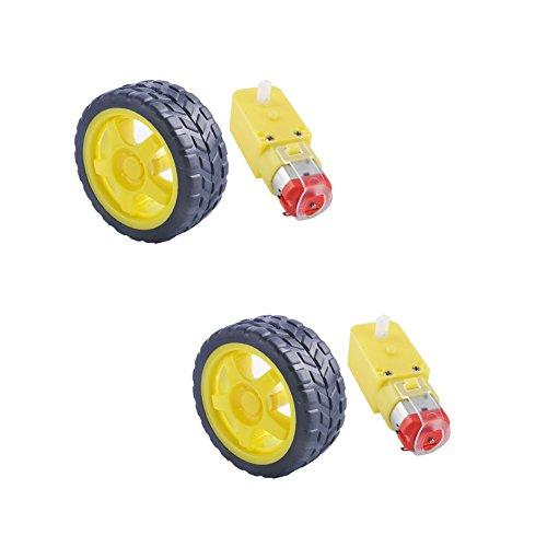 Preisvergleich Produktbild DIYmall DC Motor 3-6V Uniaxial DC Getriebe TT Magnetgetriebe mit Reifen Rad 2St