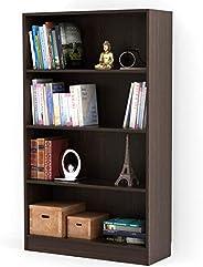 Bluewud Alex Wall Book Shelf/Home Decor Display & Storage Rack Cabinet Unit (Wenge, 4 Shel