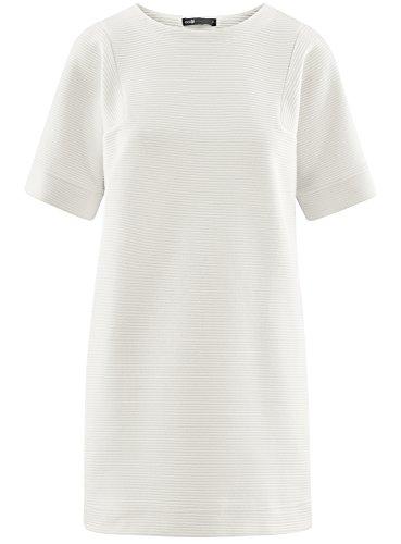 oodji Ultra Damen Lässiges Geripptes Kleid Weiß (1200N)