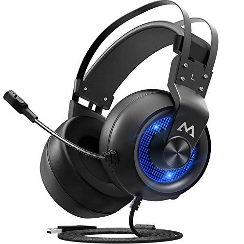 Mpow EG3 Gaming-Headset 7.1 Surround Sound für FPS Game, 50 mm Lautsprecher, Stereo-Headset mit Mikrofon zur Geräuschunterdrückung, LED-Licht, Lautstärkeregler für PC, PS4 (Pc 2 Ghost Recon)