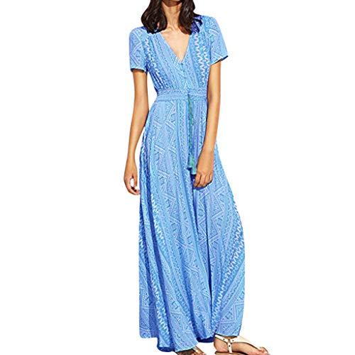 Damen Strandkleid, Frauen Sommerkleid Blumendruck Button Up Split Flowy Party Maxi Kleid Lange Kleid