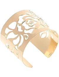 Pulsera de Brazo Flor Rosa Brazalete Abierto U Lujo Joyería Metal Armband Color Oro/Plata