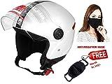 JMD Helmets Grand Open Face Helmet (White, M)