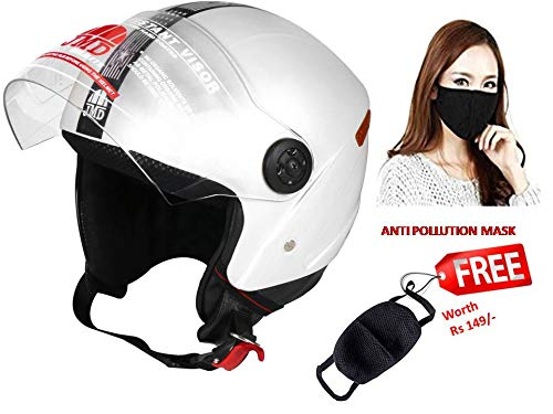 JMD Helmets Grand Open Face Helmet (White, M)