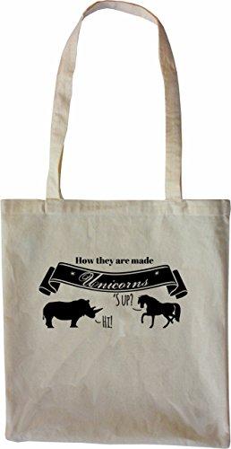 Mister Merchandise Tote Bag How Unicorns are made Einhorn Borsa Bagaglio , Colore: Nero Naturale