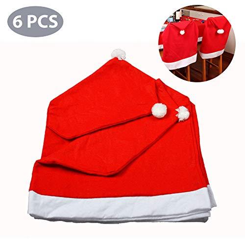 Babbo natale cappello sedia, set di coprisedia natalizi, coprisedili natalizi 6 pezzi, decorazione ideale per le sedie della tua cucina durante le feste natalizie