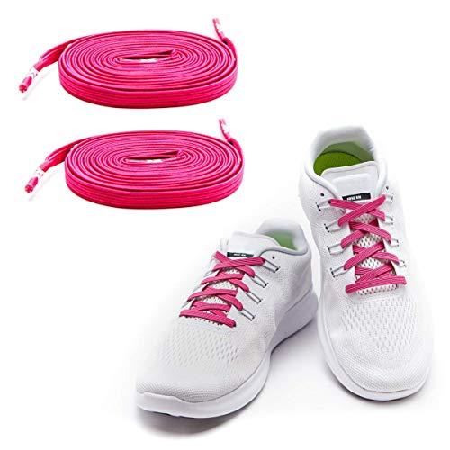 MAXX laces Flache elastische Schnürsenkel mit Einstellbarer Spannung Schuhbänder ohne Binden komfortable Schuhbinden einfach zu bedienen Passt zu jedem Schuh Gummi Neon