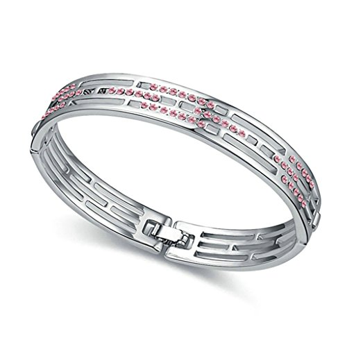 Adisaer Placcato Oro Bracciale Charms Donna Bracciali Amicizia 3 Row Bianco Diamante 5.8X4.8CM