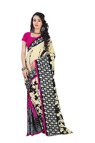 Alia creation Beige & Pink Color Faux Georgette Printed Saree  available at amazon for Rs.299