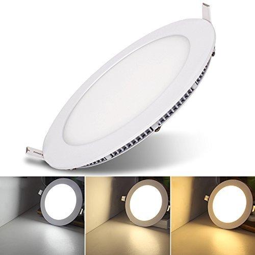 Hengda® LED Einbaustrahler Deckenleuchten, Ultra slim mit Trafo, Runde Panel Deckenleuchte Einbauleuchte Downlight, 3 Modi Lichtfarbe wechselbar, AC 86-265V (Rund 24W) - Kleine Decke Mount Licht