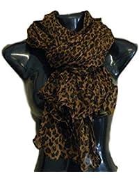 25814b89ee92 marron petit animal style Célébrité imprimé léopard pointillée large pour Femmes  écharpe châle ...