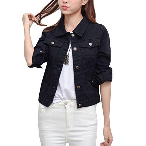 Vor Schulterzucken (Mode Beiläufig Damen Mantel Jacke Denim jacket Trench Parka Jacken Einfarbig Lange Ärmel Jeans-Jacke mit Patches (S, Schwarz))
