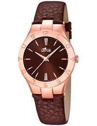 Lotus  0 - Reloj de cuarzo para mujer, con correa de cuero, color marrón