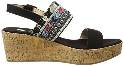 La Strada Black Suede Look Sandal With Cork Wedge, Sandales à plateforme femme Noir - Schwarz (2201 - micro black)