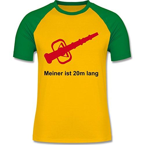 Feuerwehr - Meiner ist 20cm lang - zweifarbiges Baseballshirt für Männer Gelb/Grün
