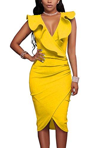 WIWIQS Womens V-Ausschnitt Sexy Rüsche Bodycon Party Cocktail Club Midi Kleid, Gelb, (Billig Jahre 1920er Kleider)