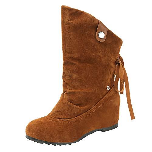 Fuibo Damen Stiefel, Frauen Wildleder Runde Toe Wedges Schuhe Reine Farbe Booties Warm Cotton Schuhe | Stiefeletten Ankle Boots Schlupfstiefel Chelsea Boots (38 EU, Braun)