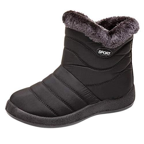 Stivali Chelsea Donna Stivali da Neve Stivaletti Impermeabili alla Caviglia Invernali Calzature Calde (43 EU,Nero)