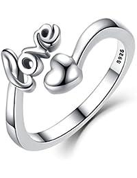 Presentski Anillo Ajustable Corazón Love Plata Esterlina 925 para el Regalo Tarjetas San Valentín de las Muchachas Señoras