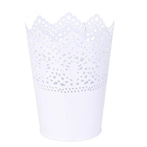 Lumanuby 1 Stück Multifunktional Stifteköcher Metall Mode Hohle Spitze Vase Make Up Pinsel Halter Rund 7 * 7 * 12.5cm, Stifthalter Serie (Weiß)