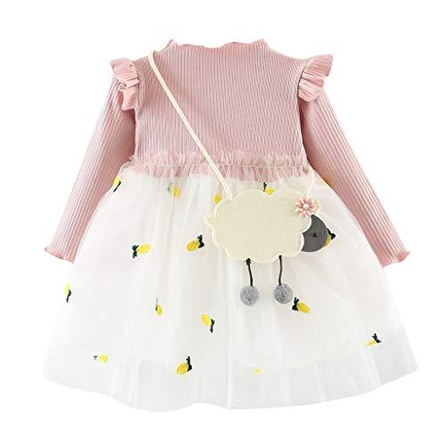 Lenfesh Kleinkind-Baby scherzt Mädchen Gestrickte Prinzessin Baumwolle Lange Ärmel Tüll Kleid Volle Hülse Kleidung Hochzeit Party Kleid ()