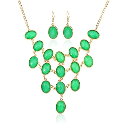 Femme Alliage Collier Diamant Réglable élégant Ensemble Chaîne De Chaînes green