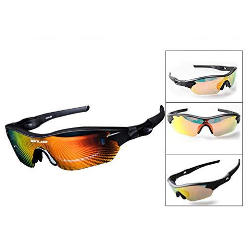 Goodtimes28 Outdoor-Sonnenbrille, 3 Farblinsen, Anti-UV-Licht, Angelbrille Schwarz