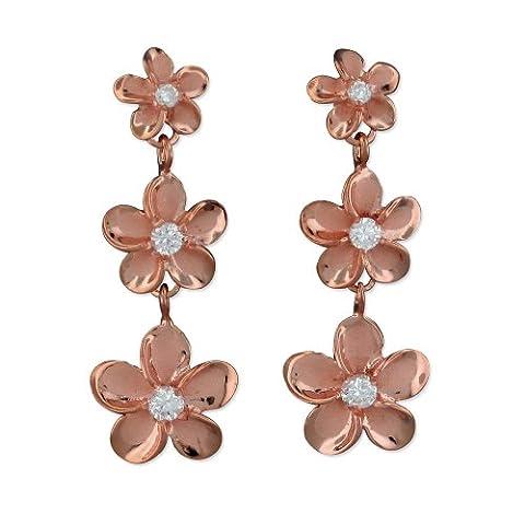 14kt Rose Vergoldet Sterling Silber Drei Plumeria Baumeln Ohrringe