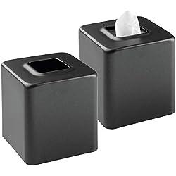 mDesign boîte à mouchoirs (lot de 2) – boîte à lingettes pratique pour la salle de bain, la chambre d'enfants, la chambre à coucher ou la cuisine – distributeur de mouchoir moderne en métal – noir