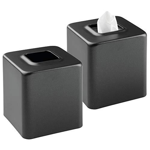 mDesign Juego de 2 cajas para pañuelos de papel – Caja para toallitas para baño, dormitorio o cocina – Dispensador de pañuelos de metal – Preciosas cubiertas para cajas de pañuelos normales – negro
