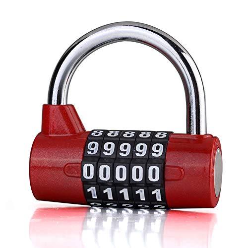 Preisvergleich Produktbild LJXiioo 5 Digitale Zahlenschloss Sicherheit Vorhängeschloss Kombination rücksetzbare Schlösser wasserdichte Zahlenschloss (2 Stück), Red