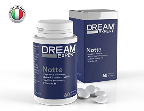 Dream expert - notte, sonnifero naturale a base di melatonina (1 mg), valeriana (256 mg), luppolo (128 mg), passiflora (85 mg) e vitamina b6 (1,4 mg)