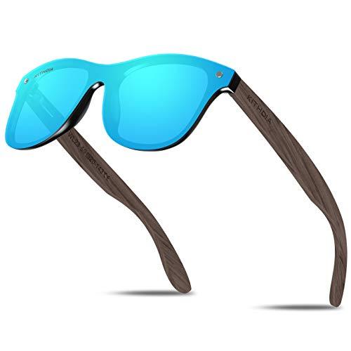 KITHDIA Bambus/holz Sonnenbrille, Schraubenzieher und Tasche - polarisiert & UV400 - verschiede Farben verspiegelte Gläser, Damen, Herren (Holz Beine)