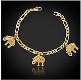 GYJUN Figaro cadenas elefantes encantos pulseras oro verdadero 18k plateó la joyería del brazalete de la moda para hombres de las mujeres , golden