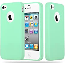 Cadorabo - Cubierta protectora Apple iPhone 4 / 4S de silicona TPU en diseño Candy - Case Cover Funda Carcasa Protección en VERDE-PASTEL-CANDY