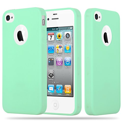 Cadorabo - Ultra Slim TPU Candy Etui Housse Gel (silicone) pour Apple iPhone 4 / 4S - Coque Case Cover Bumper en CANDY-VERT-PASTEL
