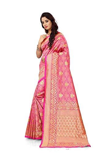 Freya Crafts Banarasi Art Silk Saree, Jacquard woven design, kanjivaram saree With Unstich Blouse piece Jacquard Self Design For Party Wear and Festive wear