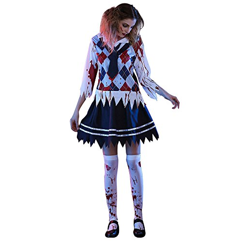 Damen Langarm , Frashing Halloween Frauen Horror Bloody Student Uniformen Cosplay Party Kostüm Cosplay Party Costume (S, Schwarz)
