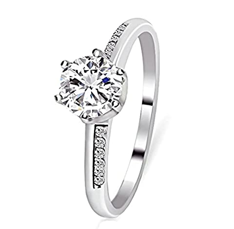 Epinki 925 Sterling Silver Women Wedding Ring Five Claws Channel