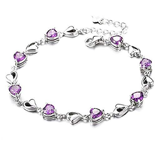 ICHQ Armband, 1x Mode Elegante Herzförmiges Armband Kristall Zirkon Liebes Armband Damen Armbänder Schmuck Geschenk Zubehör (Lila)