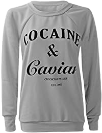 Womens Ladies Cocaine And Caviar Print Jumper Pullover Sweatshirt Top T-shirt UK 12/14 - AUS 12/14 - US 8/10Grey
