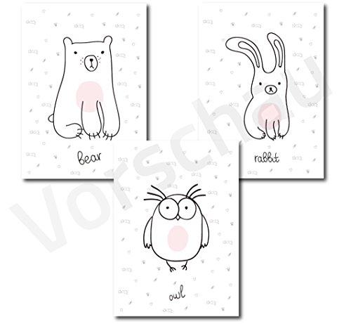 Kinderposter 3er-Set | Motiv Tiere Bär Hase Eule | Kinderzimmer Babyzimmer Bilder | Poster A4 | Kunstdruck als Wand-Dekoration für den Bilderrahmen | Mädchen Jungen | Strichzeichnung Bear Owl Rabbit